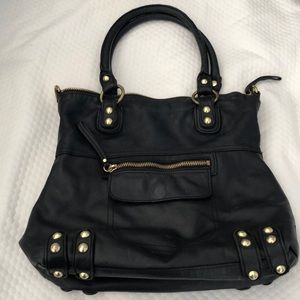LINEA PELLE Satchel with Gold Tone Hardware